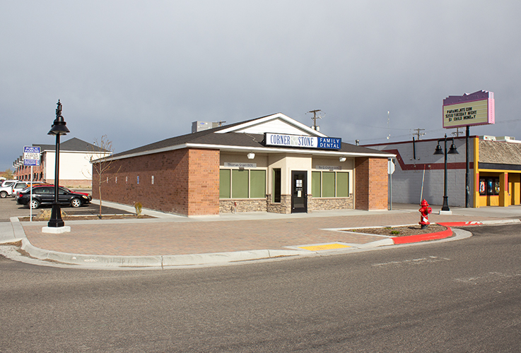 The dental office and neighboring buildings